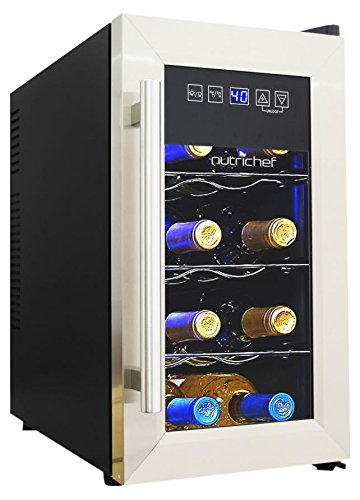 NutriChef 8 Bottle Thermoelectric Wine Cooler / Chiller | Counter Top Red And White Wine Cellar | FreeStanding Refrigerator, Quiet Operation Fridge | Stainless Steel by NutriChef