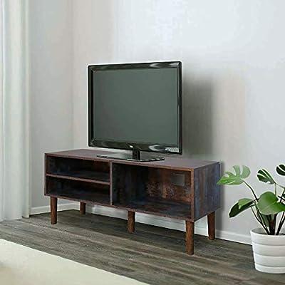 GRAFZEAL Mueble de TV moderno de mediados de siglo, mueble de consola de televisión retro, centro de entretenimiento para TV de pantalla plana, consola de juegos, en sala de estar, sala de