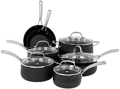 Oneida 12pc Hard Anodized Scratch Resistant Aluminum PTFE Spray 3-coat, Dishwasher Safe Cookware Set