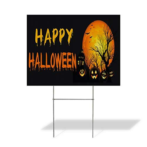 Plastic Weatherproof Yard Sign Happy Halloween Pumpkins Scary