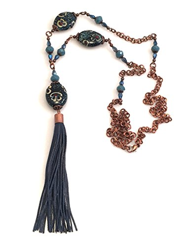Blue Beads Leather Tassel Necklace