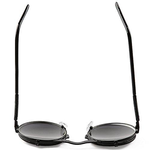 Espejo Lente Sunglasses Retro Gris Vintage Hombres sol gafas Marco Círculo Gris Steampunk Revestimiento Mujeres de YUPq4SY
