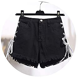 Vintage Tassel Denim Shorts Women Lace Up Jeans Cute Shorts Streetwear Casual Party Shorts Female Black M