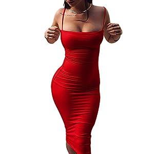 GOBLES Women's Sexy Spaghetti Strap Sleeveless Bodycon Midi Club Dress