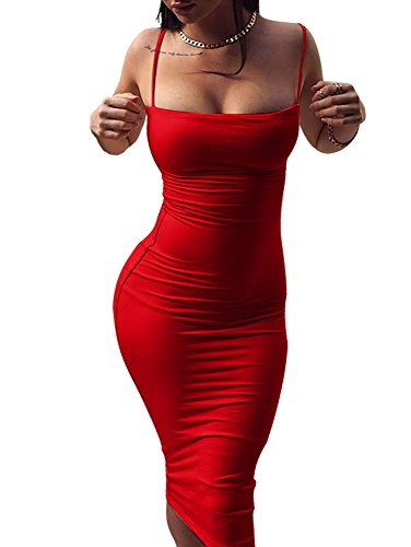 GOBLES Women's Sexy Spaghetti Strap Sleeveless Bodycon Mid Club Dress (L, Red)