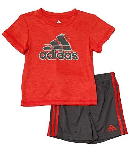 adidas Toddler Boys 2pc Short Sleeve Athletic T Shirt and Shorts Set (9 Mos, Orange/Grey) (Orange Adidas Baby)