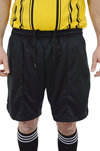 Mato & Hash Mens Premium Drawstring Referee Shorts | Black Soccer Shorts For Officials