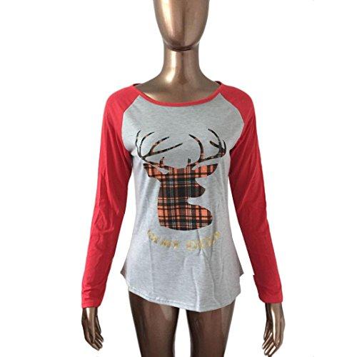 Rcool Mujer Camiseta de Manga Larga Casual Blusa Algodón Tops T Shirt Rojo + Gris