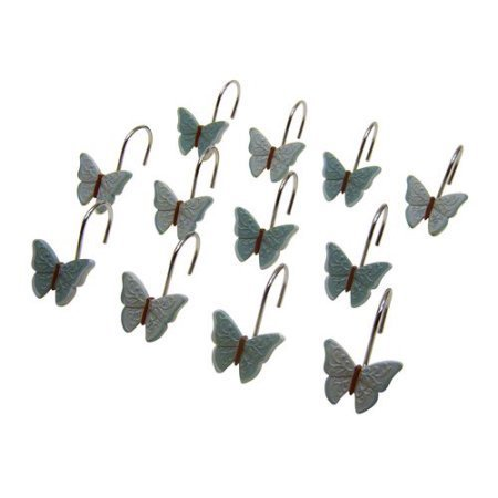 Mainstays Butterfly Blessing Decorative Bath Collection - 12 Piece Shower Hooks -
