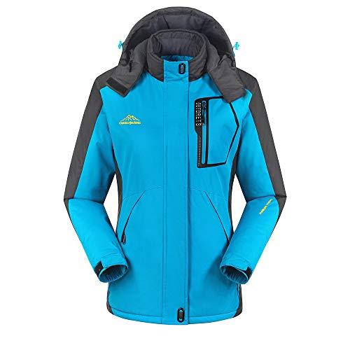 - Women's Winter Outdoor Cashmere Thickening Zipper Hoodie Sport Outdoor Waterproof Casual Sports Coat Blue