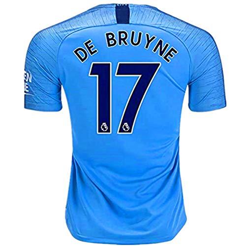 (De Bruyne #17 Manchester City Home Mens Soccer Jerseys 2018-2019 Color Blue Size M)