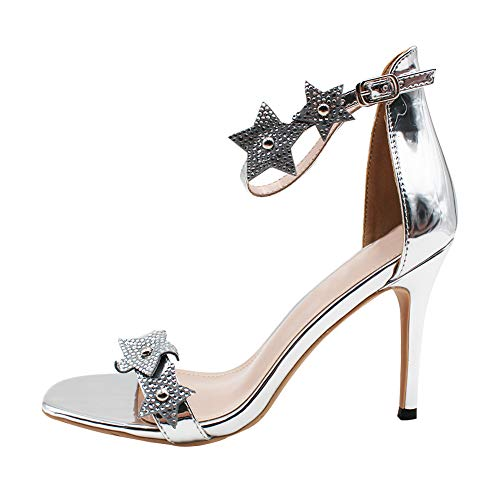 Uirend Aiguille Heel Sexy Nightclubs Bride Talon Club High Chaussures FemmesSimple Soirée Dansante Argent Sandales bgIvY7my6f