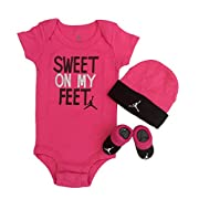 Nike Michael Jordan Infant Layette 3 Pcs Sets Bodysuit Cap and Booties