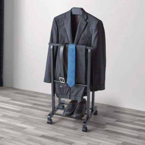 9eb32c07f Amazon.com: Men's Elegant Valet Stand Organizer in Black With Lockable Rear  Wheels, Perfect For Storing Or Display Jackets, Suits, Trousers And Shoes:  Home ...
