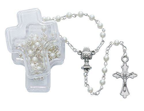 Beautiful White Pearl Communion Rosary with a Silver Ox Crucifix and Center