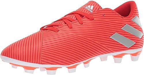 adidas Men's Nemeziz 19.4 Firm Ground Soccer Shoe, Active Silver Metallic/Solar Red, 7.5 M US