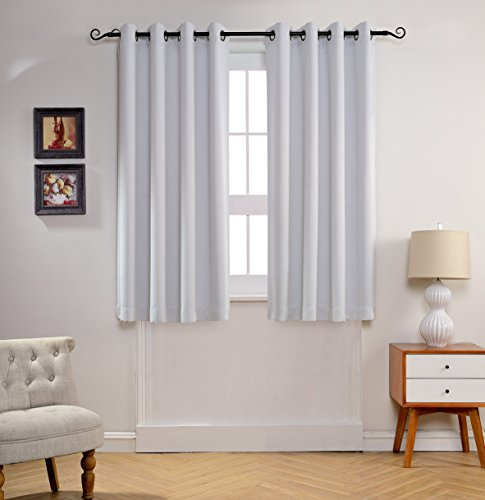 MYSKY HOME Solid Grommet top Thermal Insulated Window Blackout Curtains, 52 x 63 Inch, Greyish White, 1 Panel
