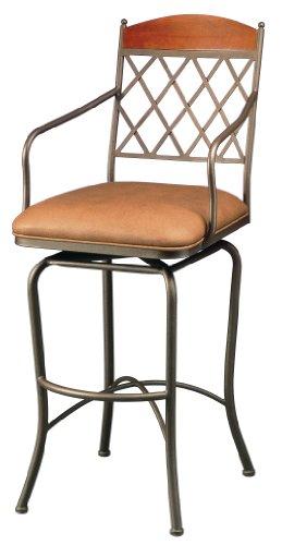 Pastel Furniture NR-219-26-BF-BK-582 Napa Ridge Swivel Barstool, 26-Inch, Bronze with Buckskin and Shandora Toast