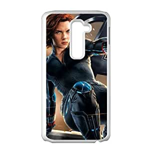 LG G2 Cell Phone Case White Black Widow Leaps Into Action ISU282748