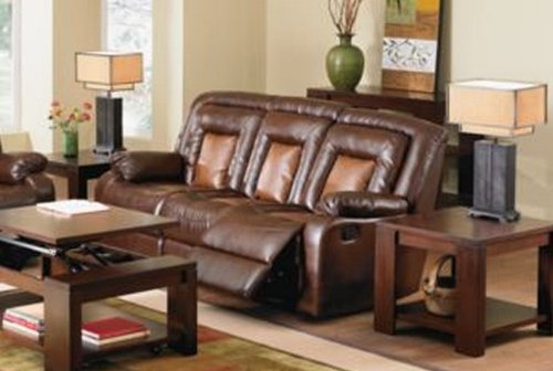 Roundhill Furniture Kmax 2 Toned Pu Dual Reclining Sofa With Drop Console