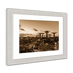 Ashley Framed Prints Night View Of The Super Tree Grove At Gardens By The Bay In Singapore Spanning, Contemporary Decoration, Sepia, 26x30 (frame size), Silver Frame, AG6084874
