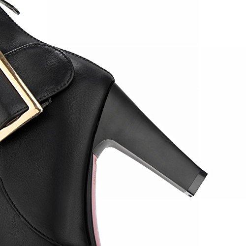 Mee Shoes Damen high heels Reißverschluss runde kurzstiefel Schwarz