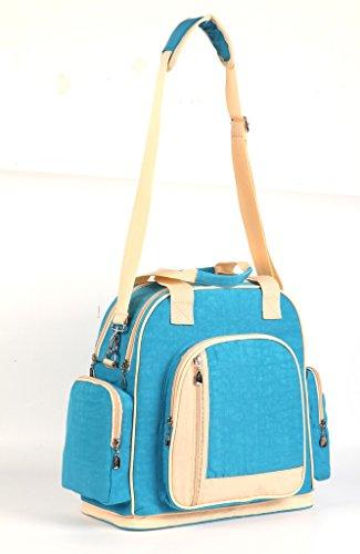 LCY multifunción de gran capacidad Baby pañal bolso cambiador Bolso bandolera mochila Red/Apricot Light Blue/Apricot
