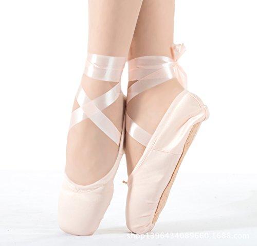 ELE GENS Damen Mädchen Spitzenschuhe Ballettschläppchen Ballettschuhe Tanzschuhe Ballett Trainings Schläppchen