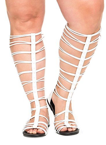 Charles Albert Free Reign Women's Wide Width Tall Caged Calf height Strappy Gladiator SandalWide Width (9, - Lovato Demi Rocker Style