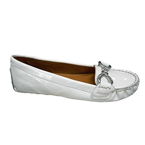 Franco Sarto Women's Millicent Ice White Patent Leather Flat - M - 5.5