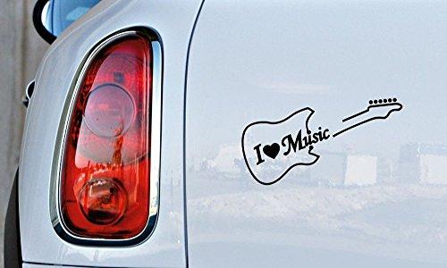 (Guitar Outline I Love Music Car Vinyl Sticker Decal Bumper Sticker for Auto Cars Trucks Windshield Custom Walls Windows Ipad Macbook Laptop Home and More (Black))