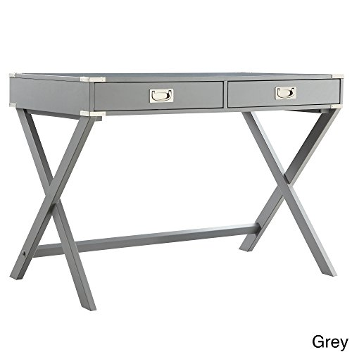 Casual Kenton X Base Legs Wood Accent Campaign Rectangular Writing Desk (Grey)
