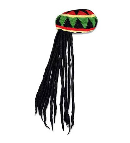[Rasta Hat with Dreadlocks - Rasta Wig With Cap Costume Accessory] (Funny Uniform Costumes)