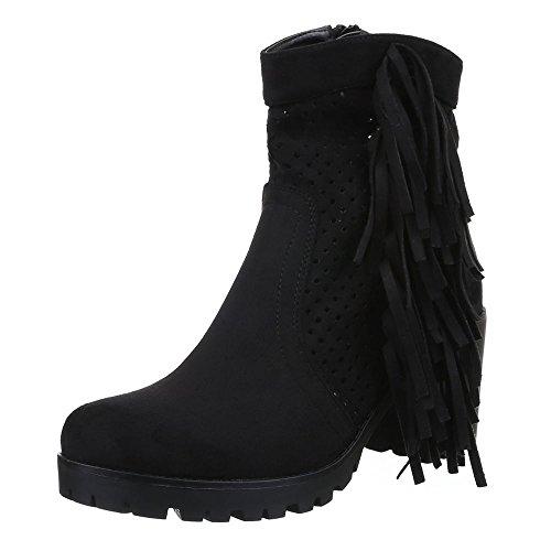 Ital-Design Damen Schuhe, 51112-PG, Stiefeletten Perforierte Western Look Cowboy Stiefel Blockabsatz Schwarz