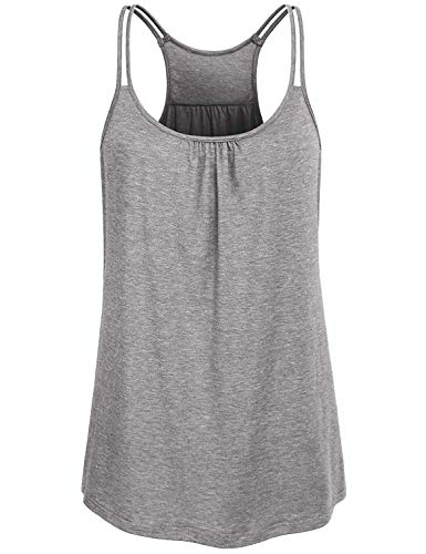 (Yoga Tank Tops for Women, Misyula Miss Training Tshirt Flowy Baggy Racerback Ribbed Spaghetti Strap Apparels Sleeveless Quick Dry Round Neck Cami Hawaiian Sof Solid Color Outfit Undershirts Gray XL)