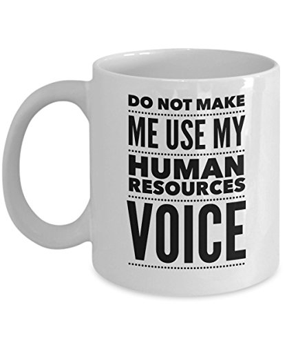 HR Funny Mug - Do Not Make Me Use My Human Resources Voice - Office Gift - 11oz White Ceramic Coffee Cup