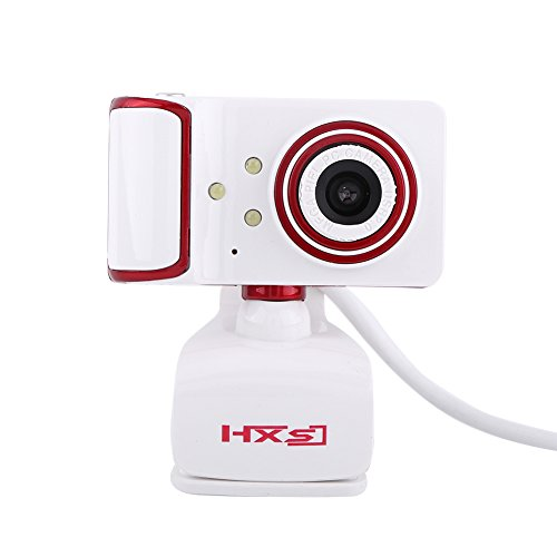 HD Webcam 3 LED Rotatable USB Web Camera Desktop or Laptop Webcam for Video Calling and Recording ( Color : Red and White )