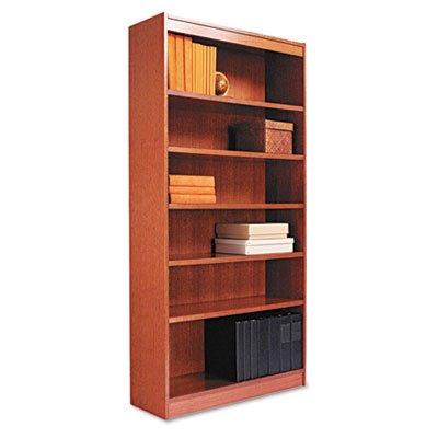 (Alera Square Corner Wood Bookcase, Seven-Shelf, 35-5/8 x 11-3/4 x 84, Medium Cherry)