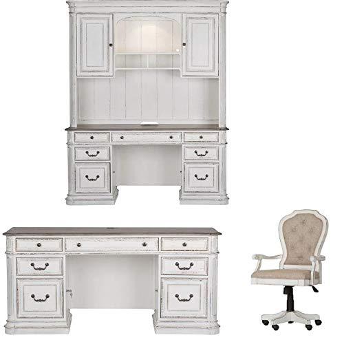 Manor Cream - Liberty Furniture 3 Piece Credenza Hutch with Executive Desk and Chair in Rustic Cream