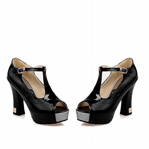Carol Shoes Fashion Womens Buckle T-strap Peep-toe Elegance Platform High Chunky Heel Dress Pumps Shoes Black jg1EU