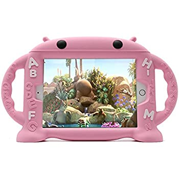 CHINFAI iPad Mini Case for Kids Shockproof Silicone Rubber Cover Cartoon Robot Stand Case with Handles for Apple iPad Mini 1 / Mini 2 / Mini 3 / Mini 4 (Pink)