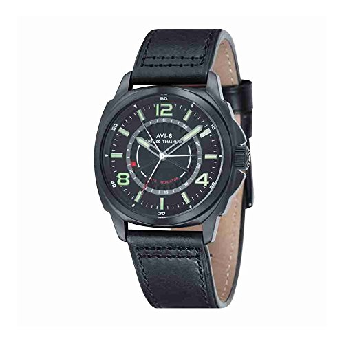 AVI-8 Curtiss Tomahawk Men Black Genuine Leather Strap Watch - AV-4032-05