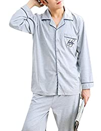 Cromoncent Mens Comfort Print Cotton Long Sleeve Button Down Pajama Set