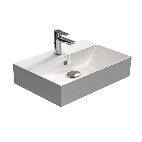 Waschbecken Amazon.Aqua Bagno Waschbecken Aufsatzbecken Modernes Design Weißer Waschtisch Aus Keramik Hochwertiger Möbelwaschtisch Für Das Badezimmer 60cm