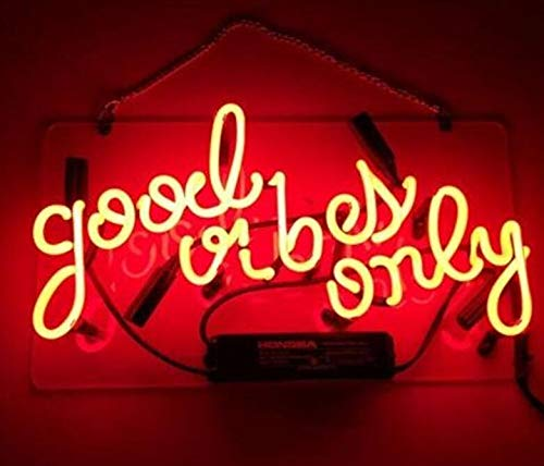 Good Vibes Only Real Glass Beer Bar Pub Store Party Homeroom Decor Neon Signs 14x9