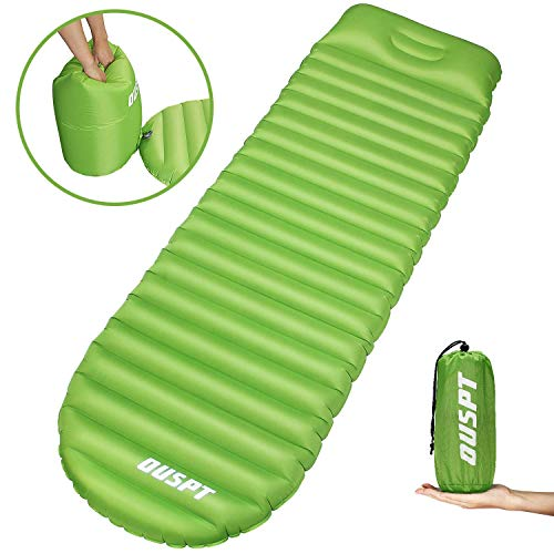 (OUSPT Sleeping Pads, Self Inflating Camping Outdoor Air Pad with Attached Pillow- Ultralight Compact Portable Waterproof Thick Rest Mat for Backpacking Hiking Traveling (Green))