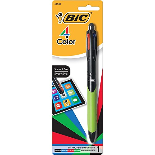 BIC 4-Color Grip Ballpoint Pen with Stylus, Medium Point (1.0mm), Assorted Inks, 1-Count (Bic Rubber Colored Pen)