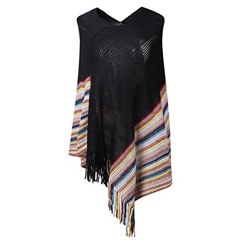 SherryDC Women's V-neck Knit Colorful Striped Tassel Hem Pullover Poncho Sweater -