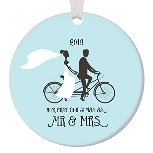Mr Mrs First 1st Christmas Ornament 2019 Bridal Shower Wedding Present Cute Newlywed Biking Partners Just Married Couple Ceramic Keepsake 3