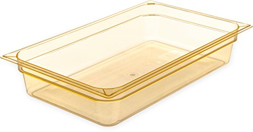 Carlisle 10401B13 High-Heat Full-Size Food Pan, 12.7 qt. Capacity, 20-3/4 x 12-3/4 x 4'', Amber (Case of 6) by Carlisle